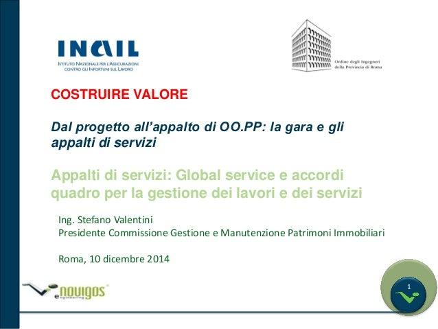 1  COSTRUIRE VALORE  Dal progetto all'appalto di OO.PP: la gara e gli  appalti di servizi  Appalti di servizi: Global serv...