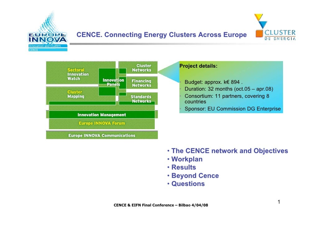 CENCE. Connecting Energy Clusters Across Europe                                              Project details:             ...