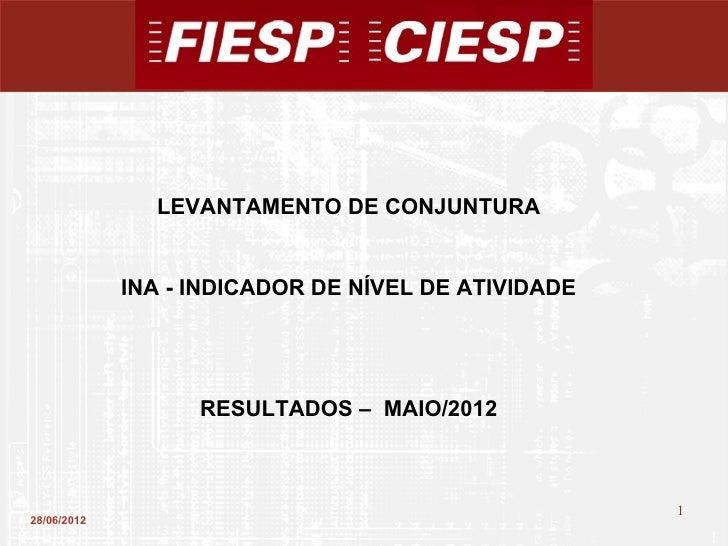LEVANTAMENTO DE CONJUNTURA             INA - INDICADOR DE NÍVEL DE ATIVIDADE                   RESULTADOS – MAIO/2012     ...