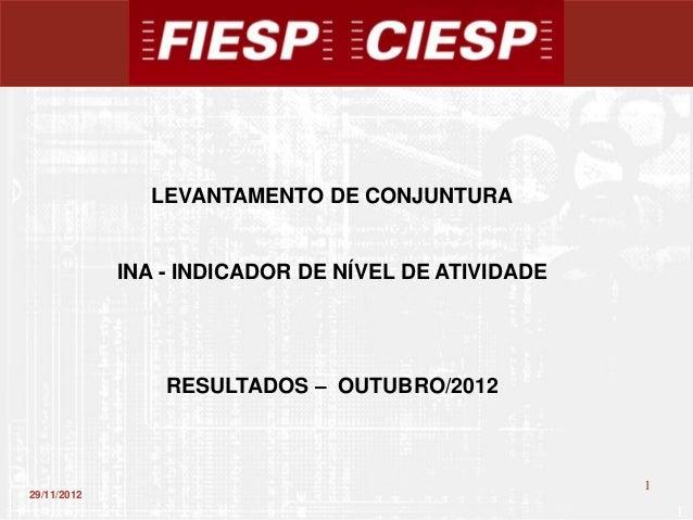 LEVANTAMENTO DE CONJUNTURA             INA - INDICADOR DE NÍVEL DE ATIVIDADE                 RESULTADOS – OUTUBRO/2012    ...