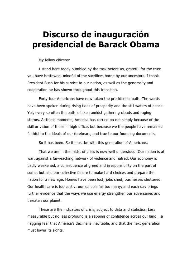 Discurso de inauguración    presidencial de Barack Obama       My fellow citizens:        I stand here today humbled by th...