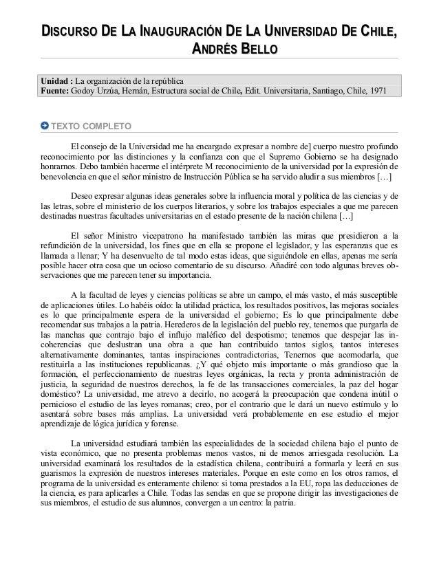 DDISCURSOISCURSO DDEE LLAA IINAUGURACIÓNNAUGURACIÓN DDEE LLAA UUNIVERSIDADNIVERSIDAD DDEE CCHILEHILE,, AANDRÉSNDRÉS BBELLO...