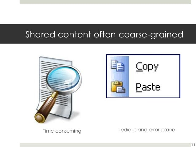 Shared content often coarse-grained  Time consuming  Tedious and error-prone 11