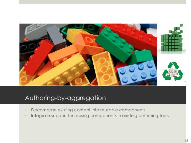 Authoring-by-aggregation • Decompose existing content into reusable components • Integrate support for reusing component...