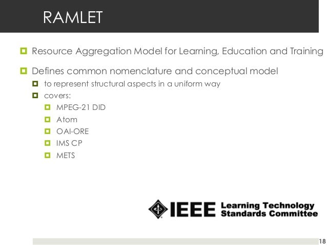 RAMLET ¤ Resource Aggregation Model for Learning, Education and Training ¤ Defines common nomenclature and conceptual ...