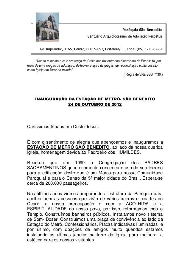 Paróquia São Benedito                                          Santuário Arquidiocesano de Adoração Perpétua        Av. Im...