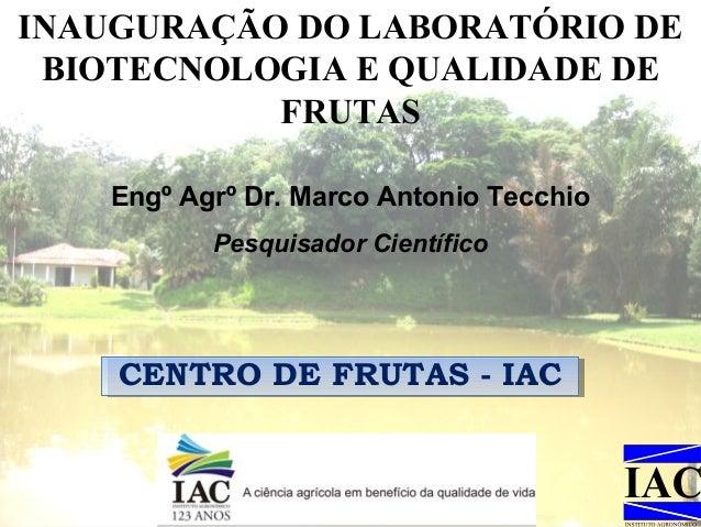 INAUGURAÇÃO DO LABORATÓRIO DE BIOTECNOLOGIA E QUALIDADE DE FRUTAS Engº Agrº Dr. Marco Antonio Tecchio Pesquisador Científi...