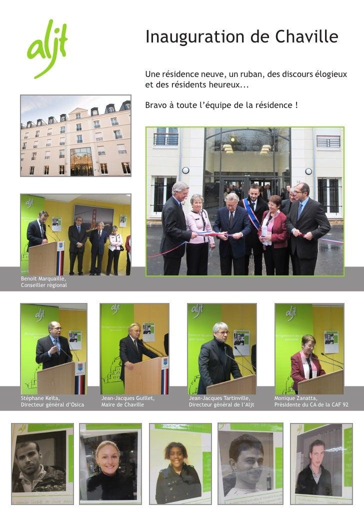 Inauguration de Chaville                                             Une résidence neuve, un ruban, des discours élogieux ...