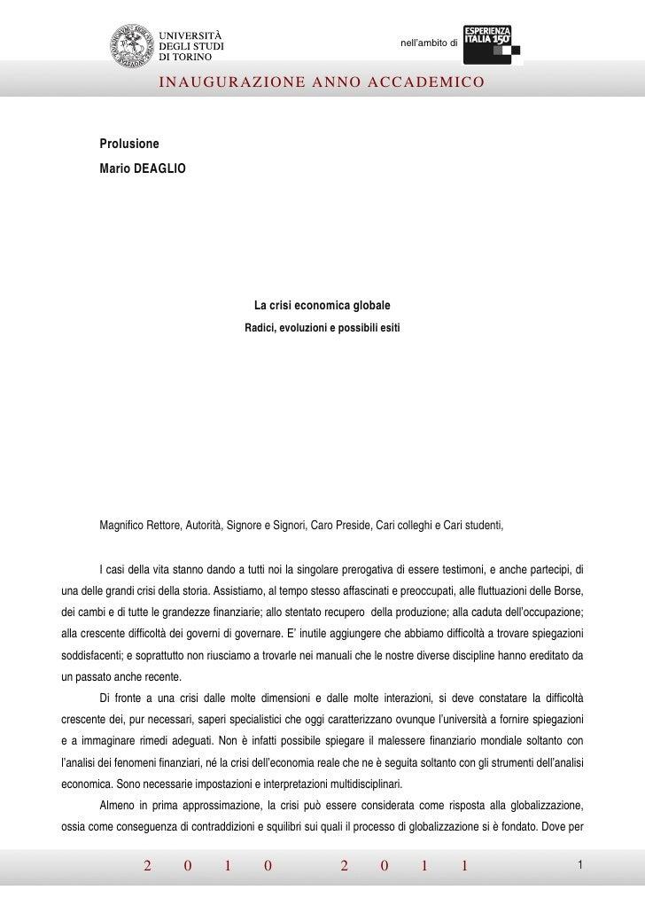 nell'ambito di                       INAUGURAZIONE ANNO ACCADEMICO         Prolusione         Mario DEAGLIO               ...