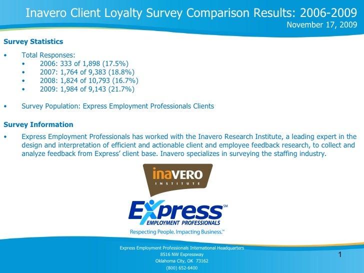 <ul><li>Survey Statistics </li></ul>Inavero Client Loyalty Survey Comparison Results: 2006-2009 November 17, 2009 <ul><li>...