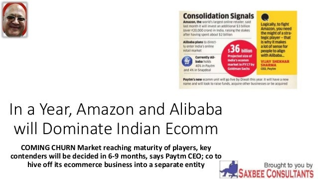 In a Year, Amazon and Alibaba will Dominate Indian Ecomm COMING CHURN Market reaching maturity of players, key contenders ...