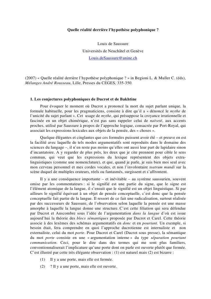 Quelle réalité derrière l'hypothèse polyphonique ?                                              Louis de Saussure         ...