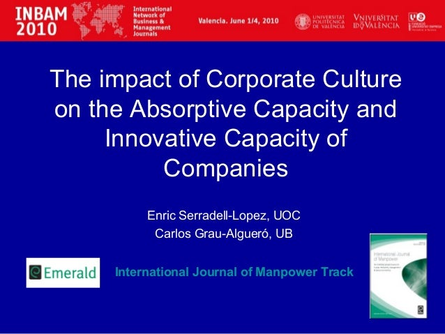 The impact of Corporate Cultureon the Absorptive Capacity andInnovative Capacity ofCompaniesEnric Serradell-Lopez, UOCCarl...