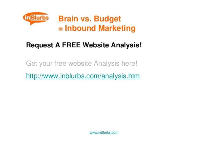 Brain vs. Budget           = Inbound Marketing  Request A FREE Website Analysis!  Get your free website Analysis here! htt...