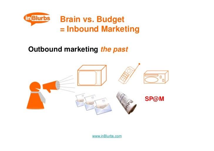 Brain vs. Budget         = Inbound Marketing  Outbound marketing the past                                         SP@M    ...