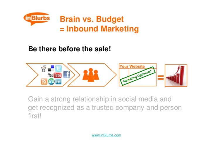 Brain vs. Budget          = Inbound Marketing  Be there before the sale!                                                  ...
