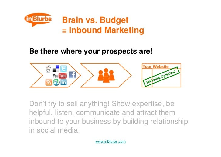 Brain vs. Budget           = Inbound Marketing  Be there where your prospects are!                                        ...