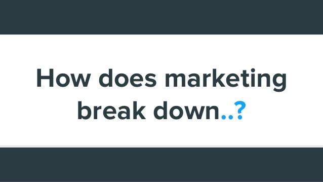 How does marketing break down..?