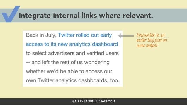@ANUM | ANUMHUSSAIN.COM Integrate internal links where relevant. Internal link to an earlier blog post on same subject.