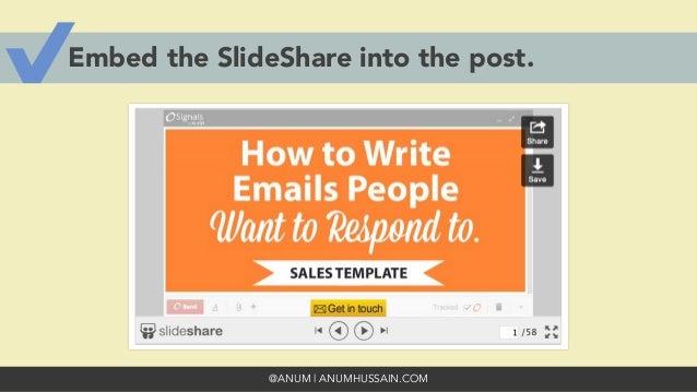 @ANUM | ANUMHUSSAIN.COM Embed the SlideShare into the post.