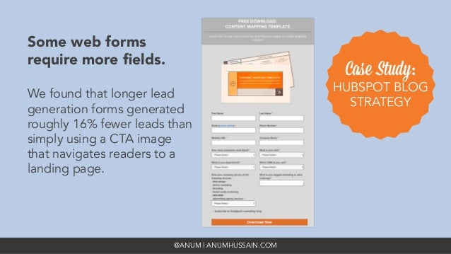 @ANUM | ANUMHUSSAIN.COM Some web forms require more fields.   We found that longer lead generation forms generated roughly ...