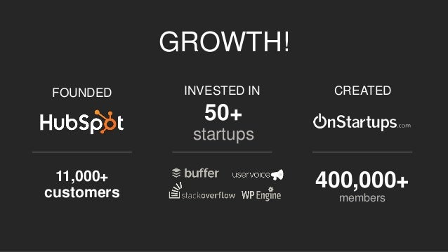 GROWTH!  FOUNDED  11,000+ customers  INVESTED IN  50+  startups  CREATED  400,000+  members
