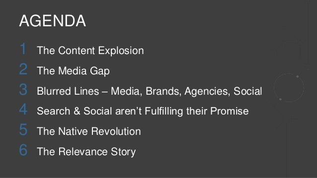 1 The Content Explosion 2 The Media Gap 3 Blurred Lines – Media, Brands, Agencies, Social 4 Search & Social aren't Fulfill...