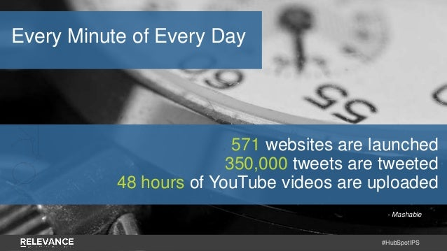 #HubSpotIPS - Mashable 571 websites are launched 350,000 tweets are tweeted 48 hours of YouTube videos are uploaded Every ...