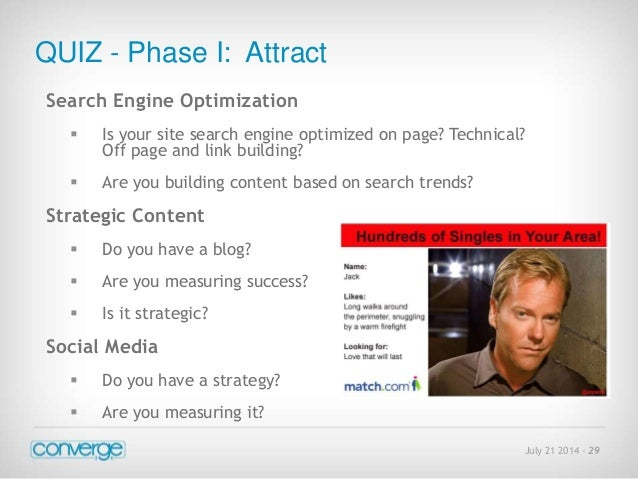 July 21 2014 - 29  QUIZ - Phase I: Attract  Search Engine Optimization   Is your site search engine optimized on page? Te...