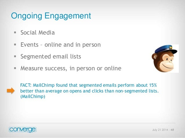 July 21 2014 - 48  Ongoing Engagement   Social Media   Events – online and in person   Segmented email lists   Measure...