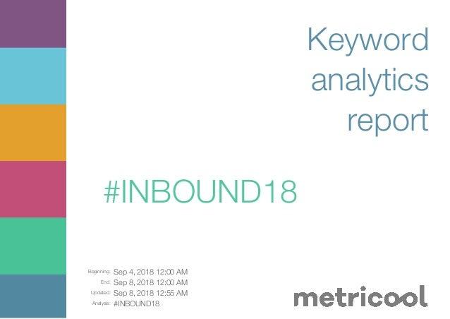 Beginning: Sep 4, 2018 12:00 AM End: Sep 8, 2018 12:00 AM Updated: Sep 8, 2018 12:55 AM Analysis: #INBOUND18 Keyword analy...