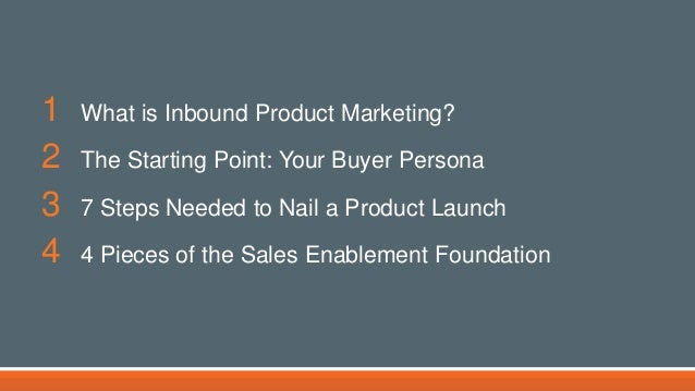 1 What is Inbound Product Marketing? 2 The Starting Point: Your Buyer Persona 3 7 Steps Needed to Nail a Product Launch 4 ...