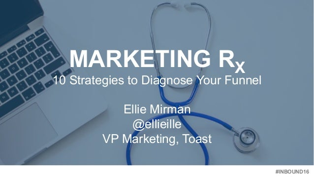 #INBOUND16 MARKETING RX 10 Strategies to Diagnose Your Funnel Ellie Mirman @ellieille VP Marketing, Toast