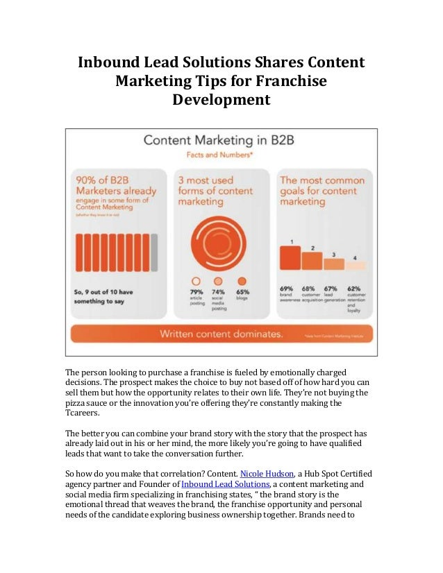 Inbound Lead Solutions Shares Content Marketing Tips for Franchise Development  The person looking to purchase a franchise...