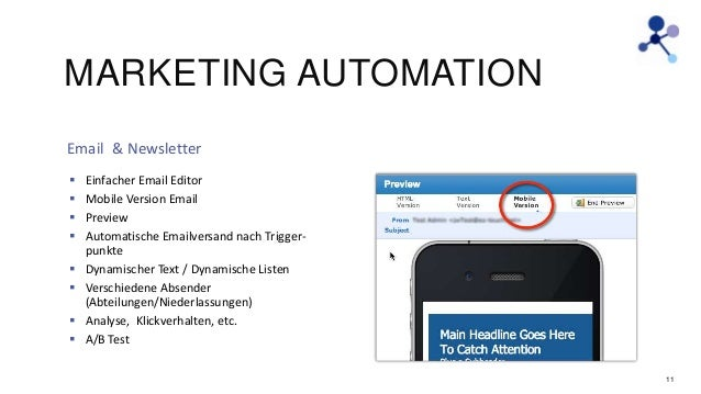 MARKETING AUTOMATION Email & Newsletter           Einfacher Email Editor Mobile Version Email Preview Automatische...