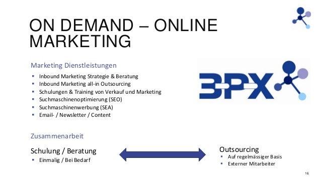 ON DEMAND – ONLINE MARKETING Marketing Dienstleistungen        Inbound Marketing Strategie & Beratung Inbound Market...