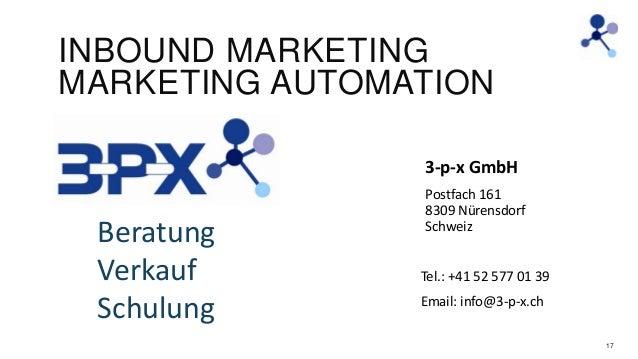 INBOUND MARKETING MARKETING AUTOMATION 3-p-x GmbH  Beratung Verkauf Schulung  Postfach 161 8309 Nürensdorf Schweiz Tel.: +...