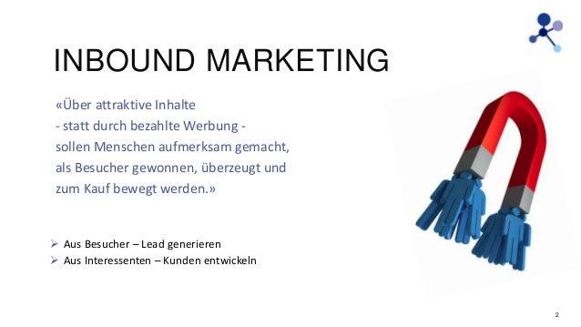 INBOUND MARKETING «Über attraktive Inhalte - statt durch bezahlte Werbung sollen Menschen aufmerksam gemacht, als Besucher...