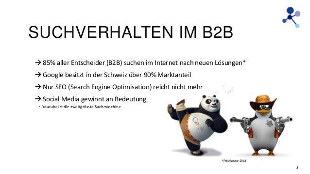 SUCHVERHALTEN IM B2B  85% aller Entscheider (B2B) suchen im Internet nach neuen Lösungen*  Google besitzt in der Schweiz...