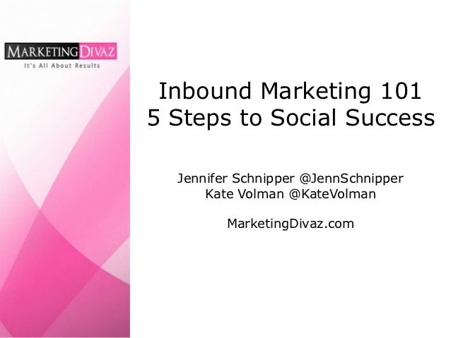 Inbound Marketing 1015 Steps to Social Success  Jennifer Schnipper @JennSchnipper      Kate Volman @KateVolman         Mar...