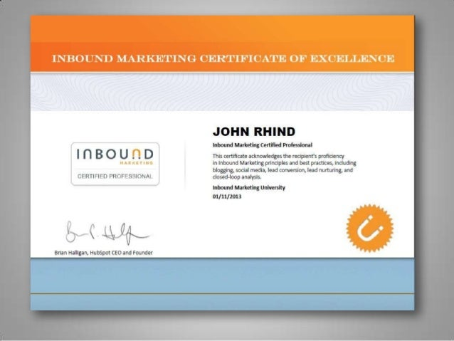Inbound marketing certificate slide