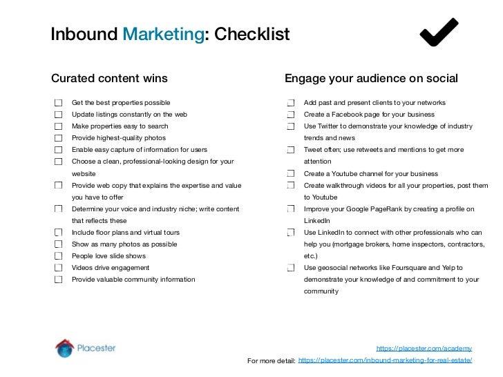 Real Estate Inbound Marketing Checklist Slide 2
