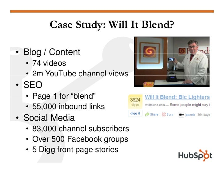 """Case Study: Will It Blend?  • Blog / Content   • 74 videos   • 2m YouTube channel views • SEO   • Page 1 for """"blend""""      ..."""