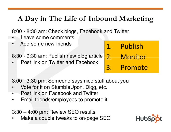 A Day in The Life of Inbound Marketing 8:00 - 8:30 am: Check blogs, Facebook and Twitter • Leave some comments • Add some ...