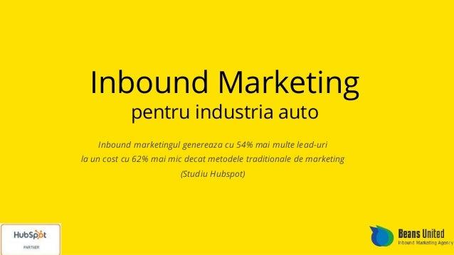 Inbound Marketing pentru industria auto Inbound marketingul genereaza cu 54% mai multe lead-uri la un cost cu 62% mai mic ...