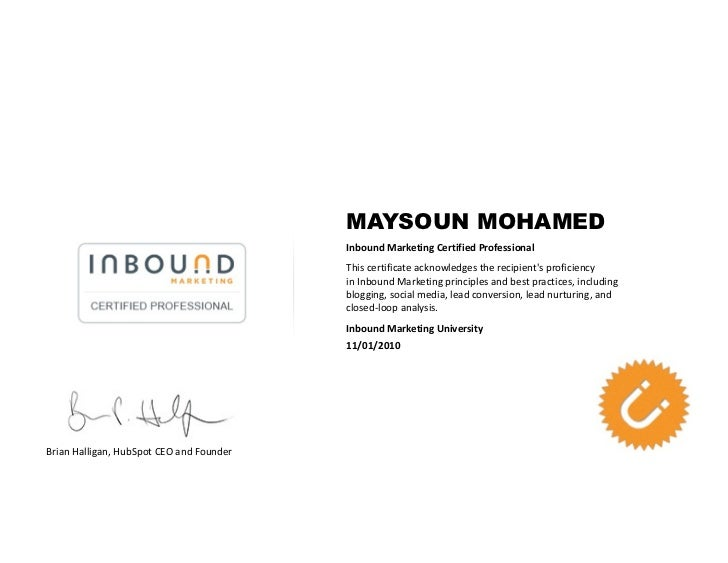 MAYSOUN MOHAMED                                          Inbound Marketing Certified Professional                         ...