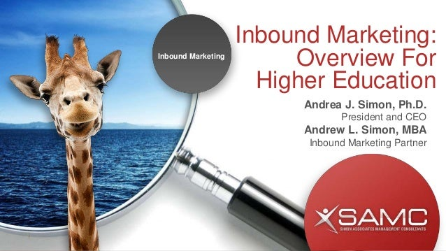 Inbound Marketing: Overview For Higher Education Andrea J. Simon, Ph.D. President and CEO Andrew L. Simon, MBA Inbound Mar...