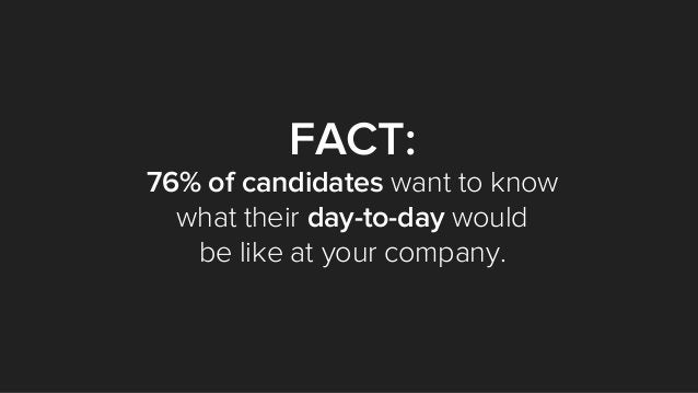 FACT: 76% of candidates want to know what their day-to-day would be like at your company.