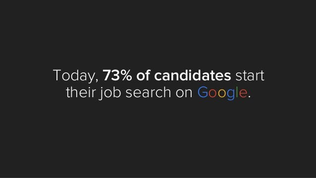 Today, 73% of candidates start their job search on Google.