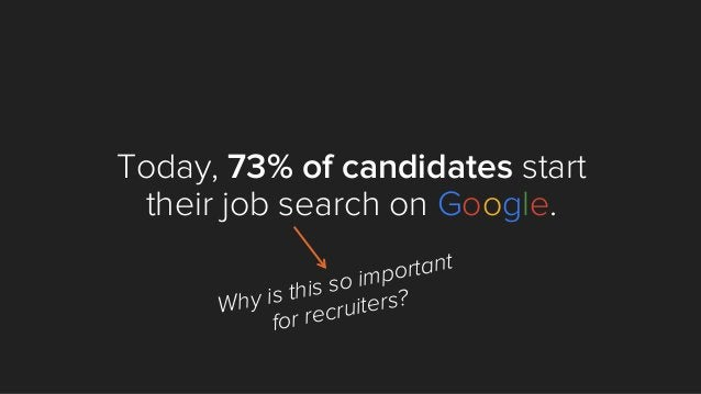 Today, 73% of candidates start their job search on Google. Why is this so important for recruiters?